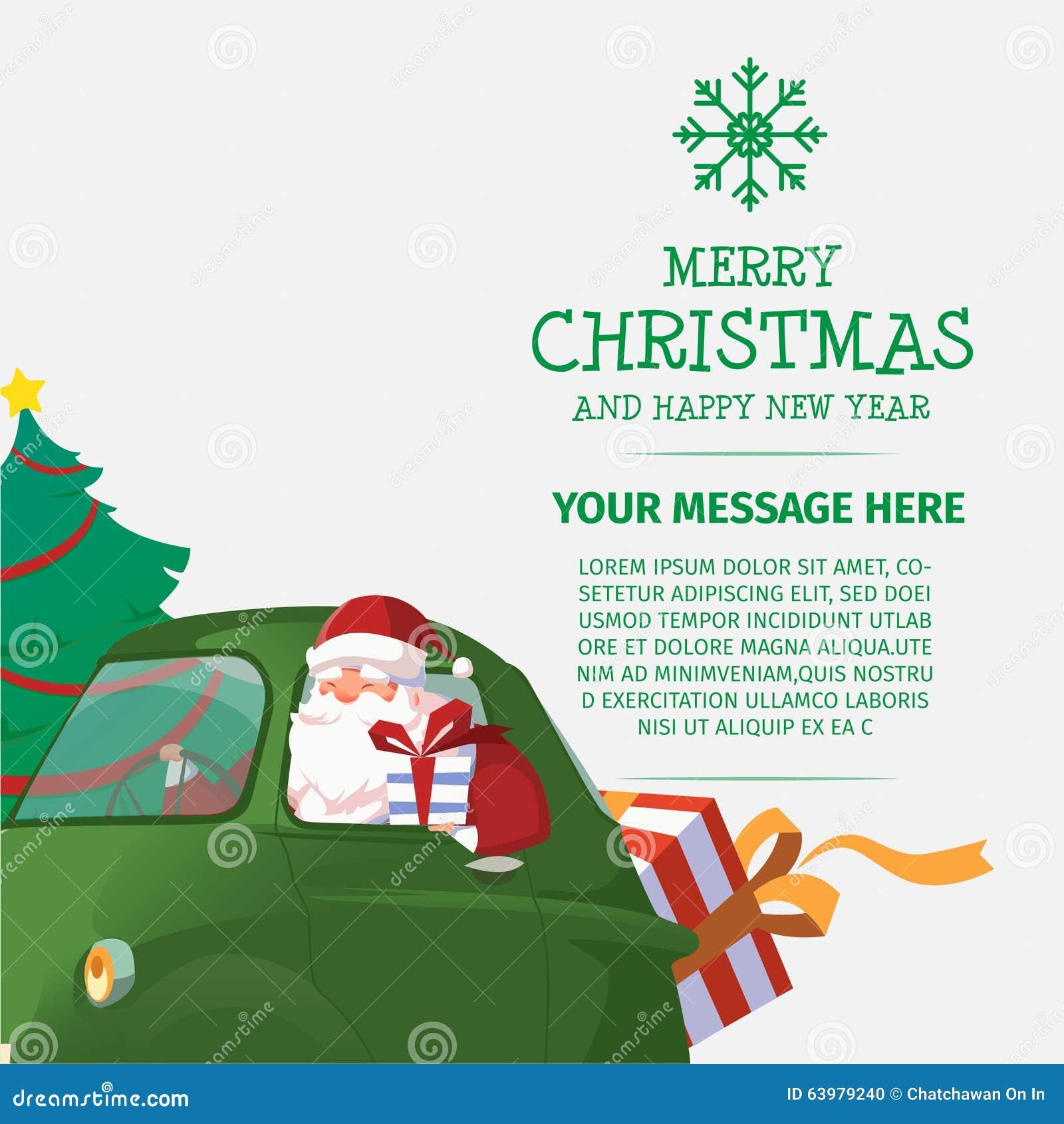 Frohe Weihnachten Und Guten Rutsch Ins Neue Jahr Santa Drive Car ...