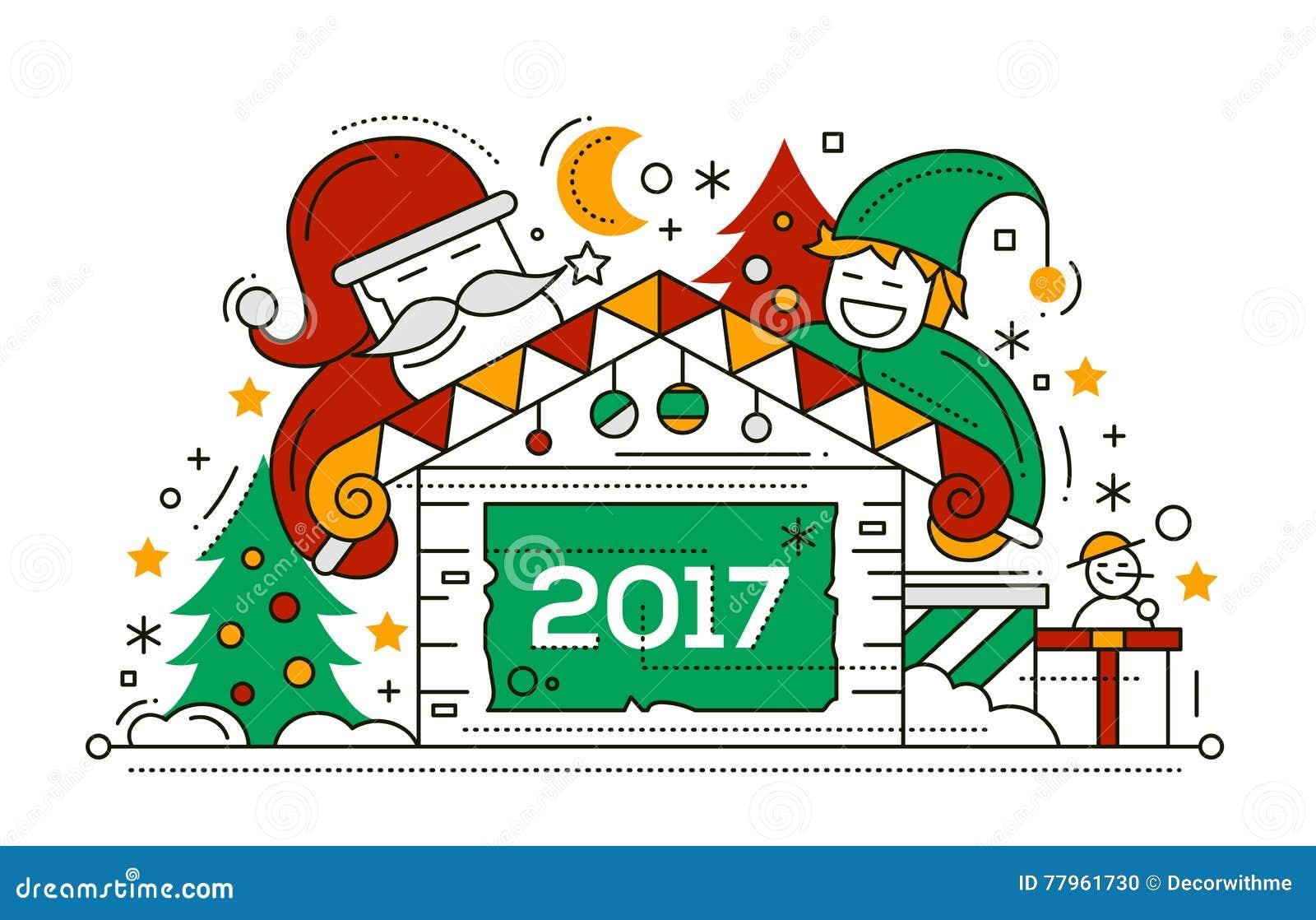 frohe weihnachten und guten rutsch ins neue jahr zeichnen sie designkarte vektor abbildung