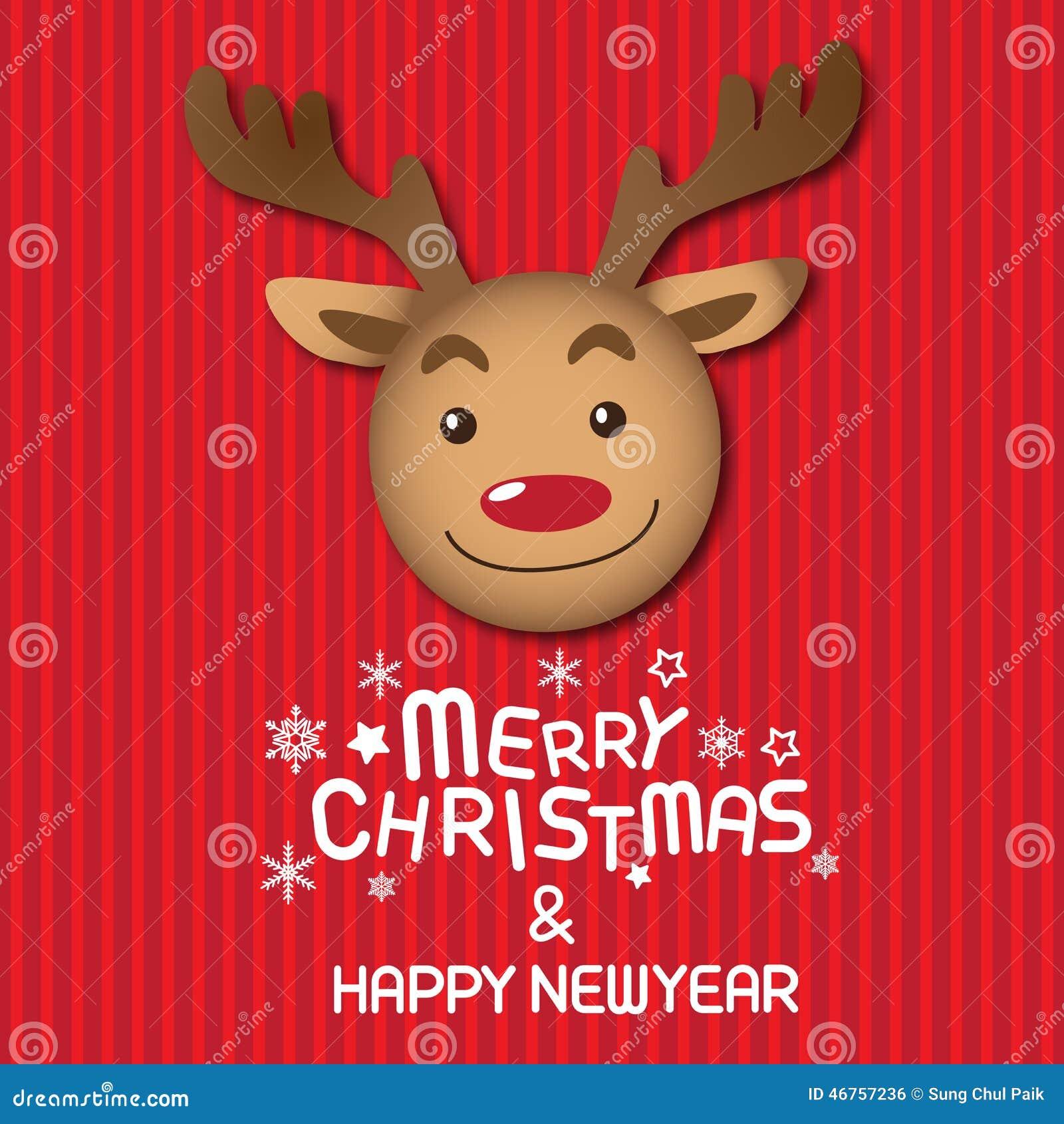 Frohe Weihnachten Und Rudolph Vektor Abbildung - Illustration von ...