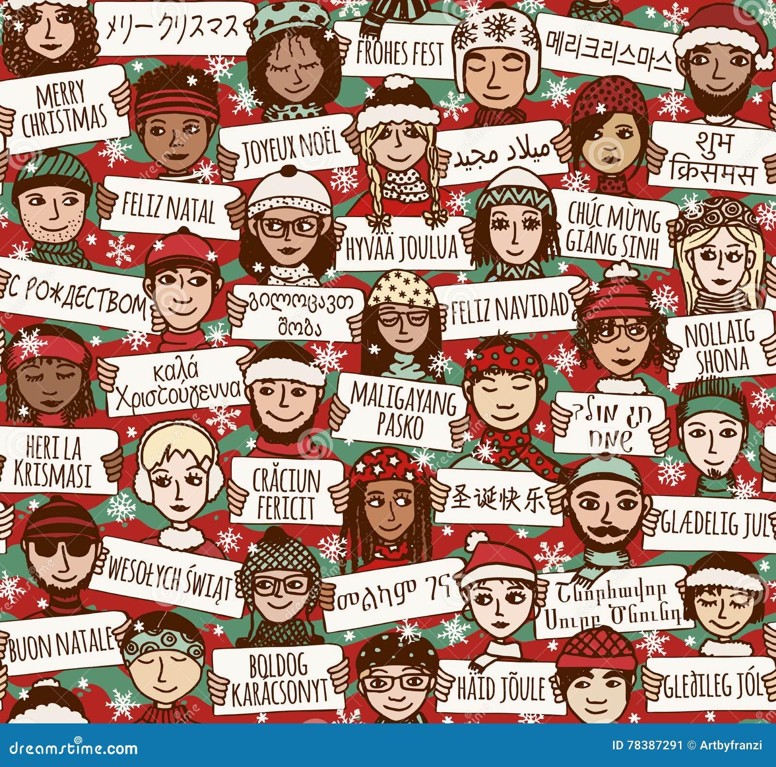 Frohe Weihnachten unterzeichnen herein verschiedene Sprachen - färben Sie Version