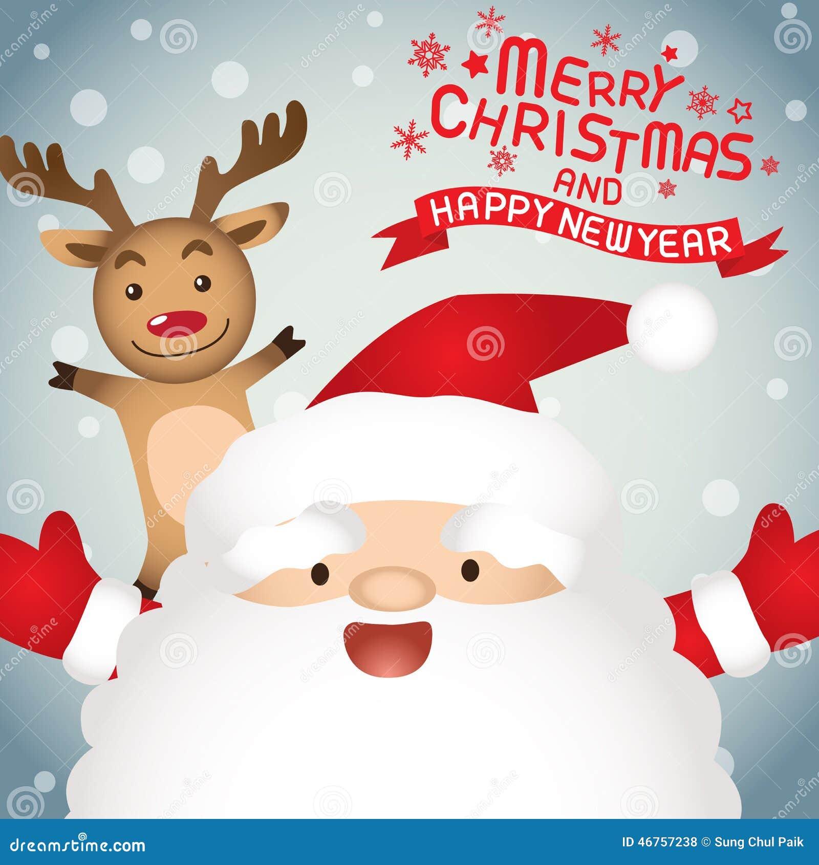 Frohe Weihnachten, Weihnachtsmann Und Rudolph Stock Abbildung ...