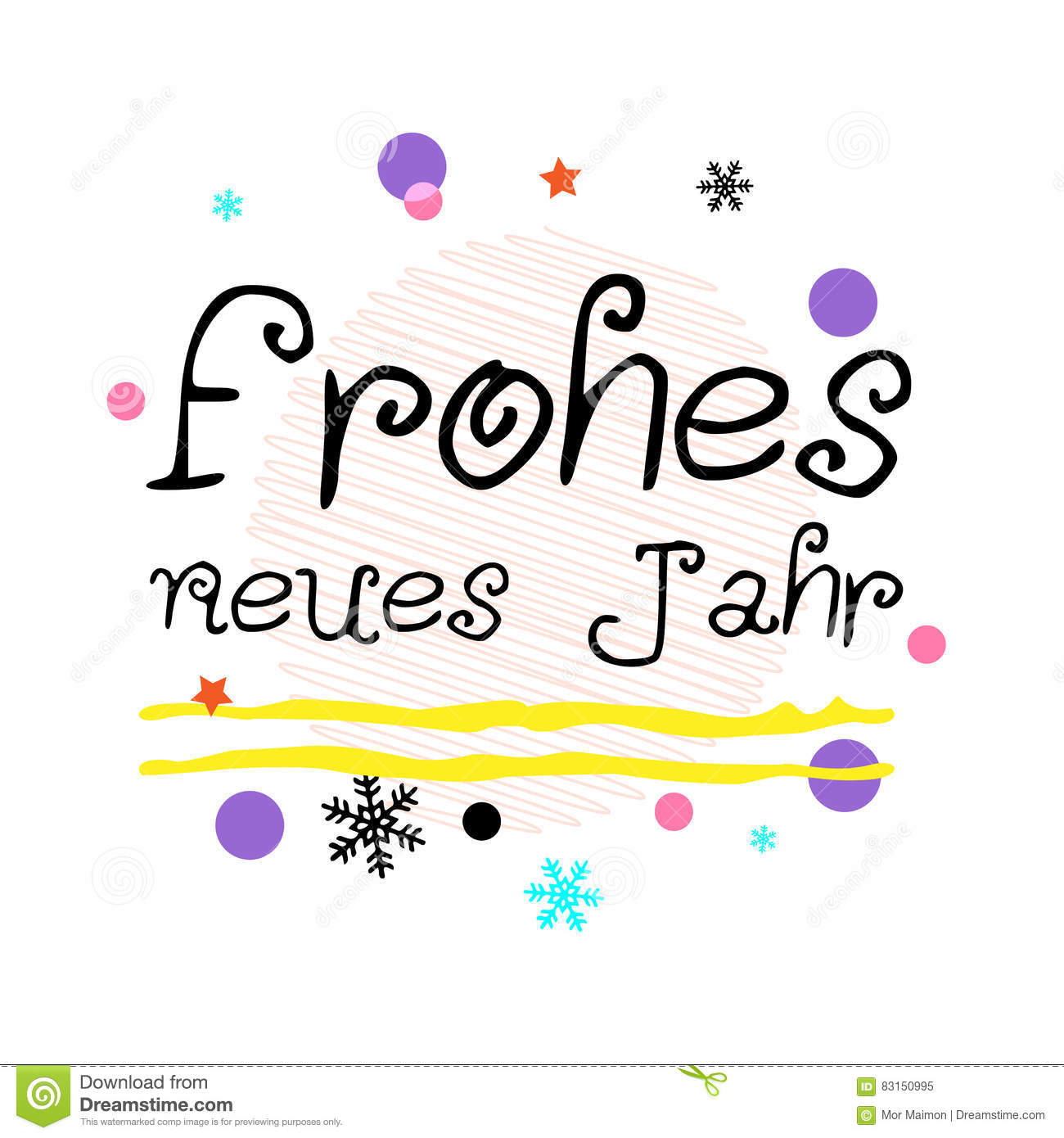 Frohes Neues Jahr. Happy New Year German Greeting. Black Typographic ...