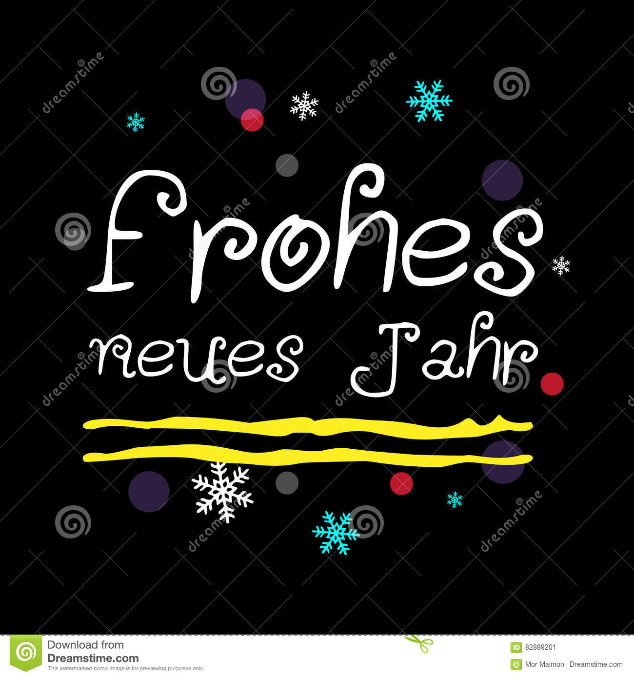 Frohes Neues Jahr. Happy New Year German Greeting. Stock ...