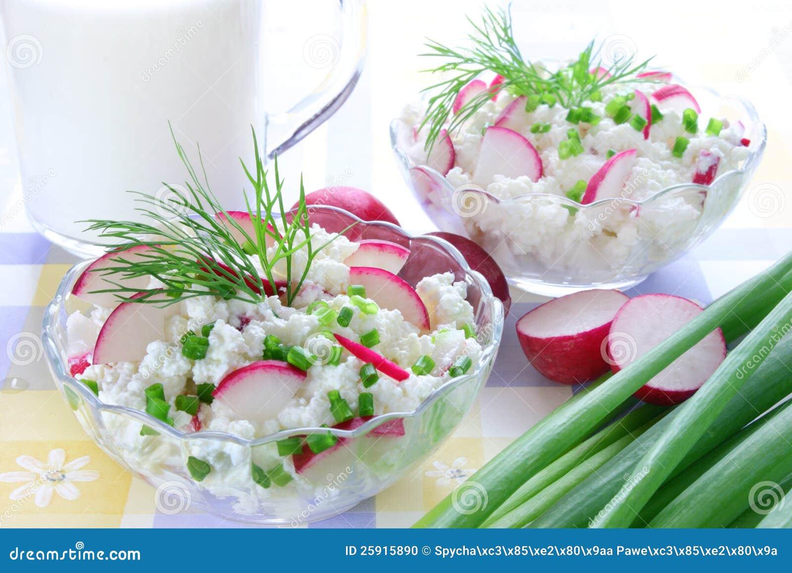 Fromage blanc avec le radis