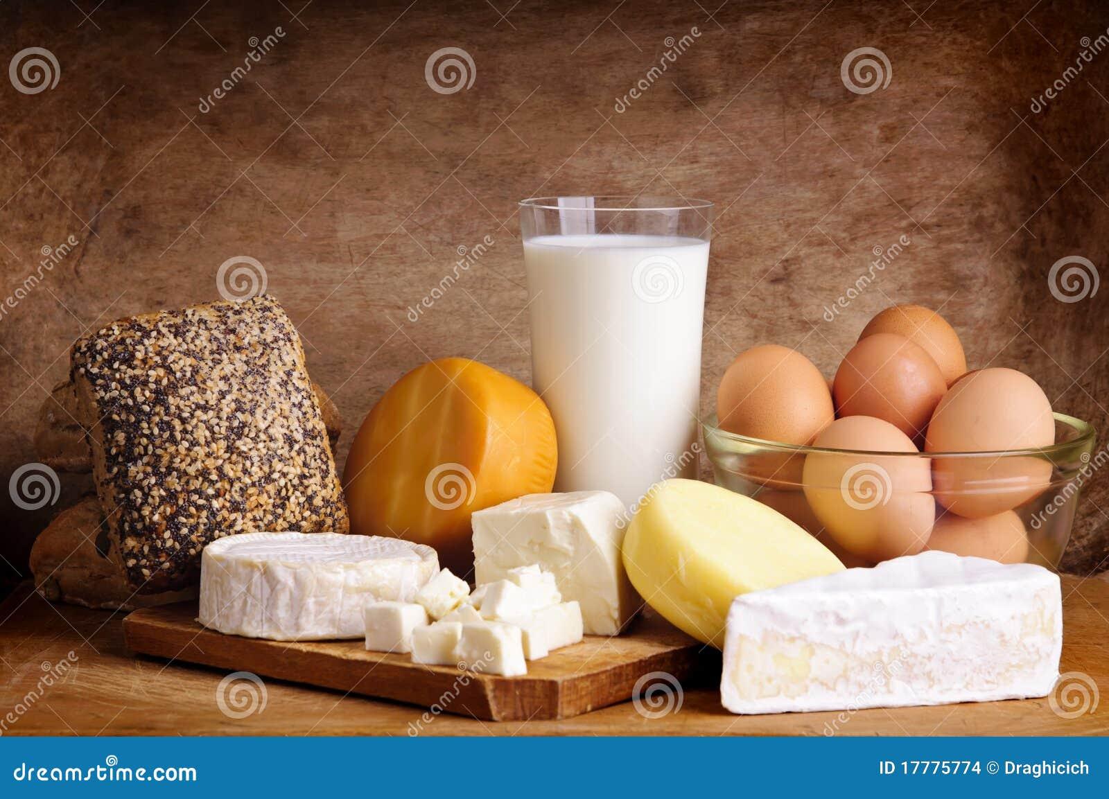 Fromage, pain, lait et oeufs