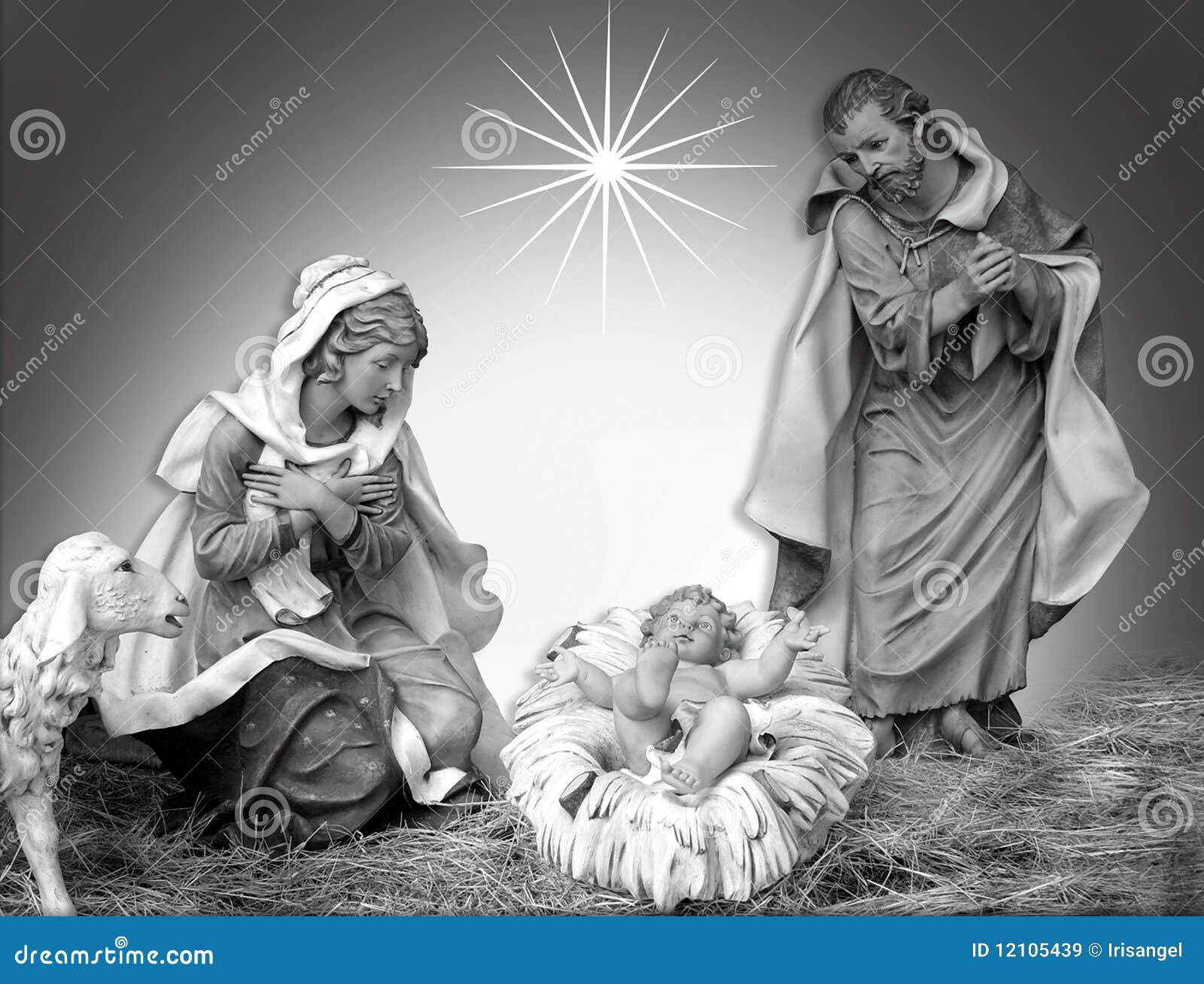 Frommes Schwarzweiss der Geburt Christi-Weihnachtsszene