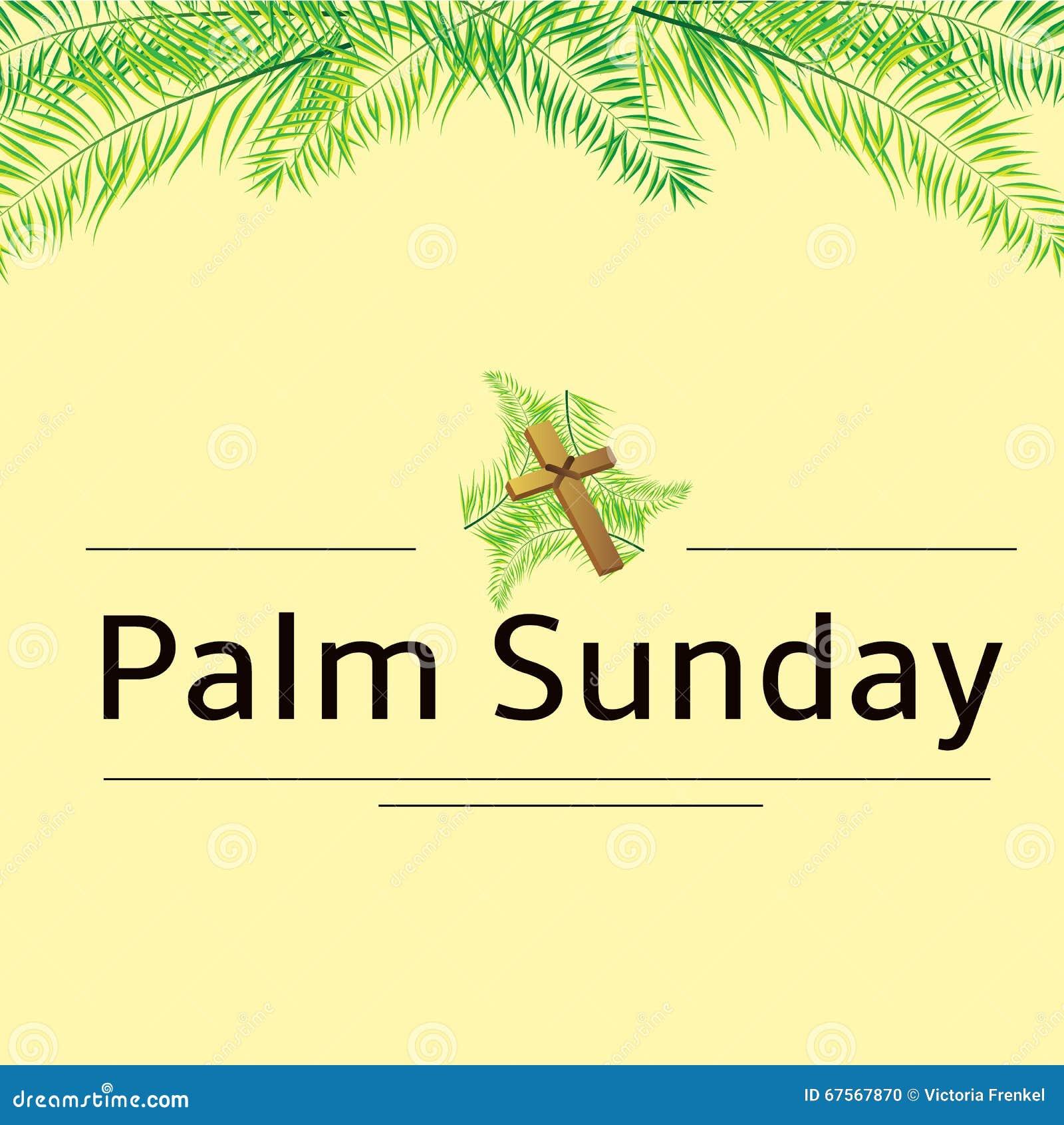 Fronde de dimanche de paume et fond de vecteur de croix Illustration de vecteur pour les vacances chrétiennes