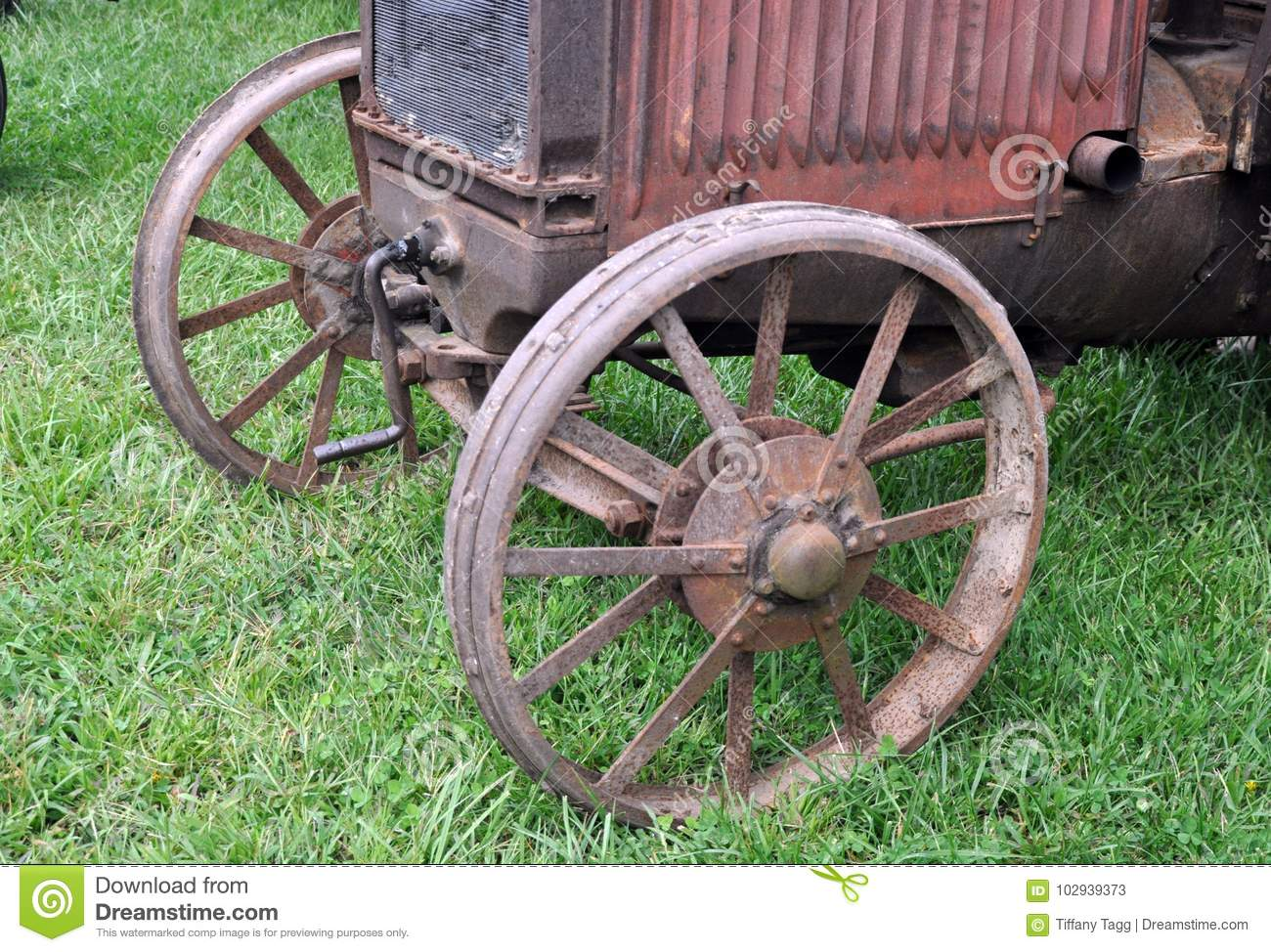 Front Of An Antique Tractor Stock Image - Image of axle