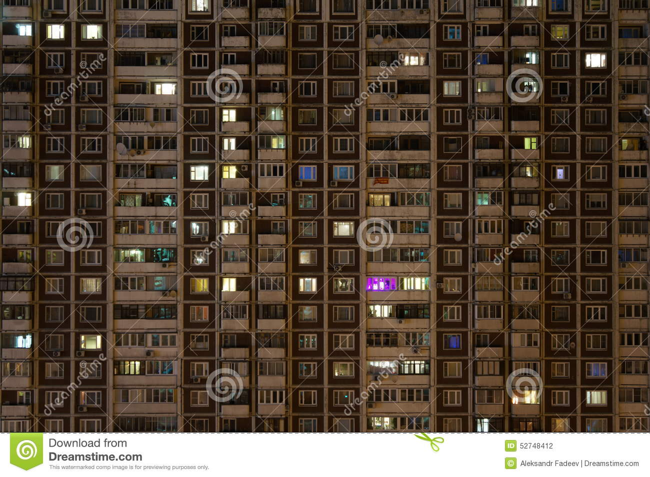 Apartment Building Front front of the apartment house at night stock photo - image: 52748412