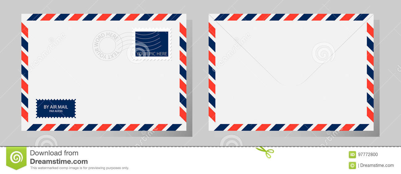 Front and back of classic envelope with stamp, postmark and airmail sign. Vector illustration.
