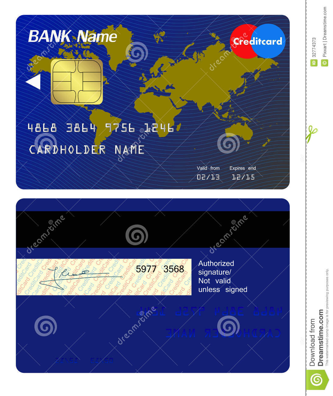 Front And Back Of Credit Card Stock Vector Illustration Of Graphic