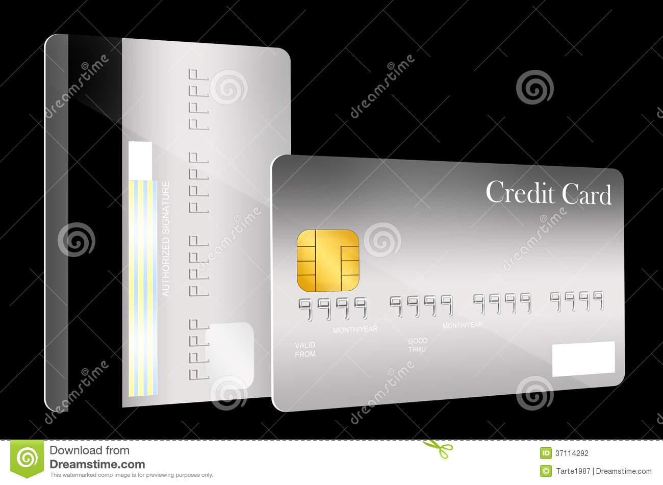 front and back credit card template stock illustration