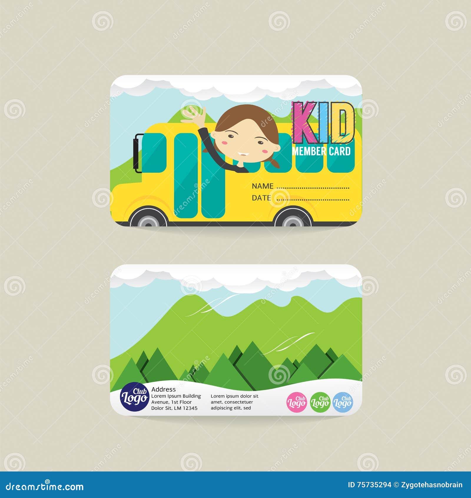 Front And Back Kids Member Card Template Vector Image – Membership Card Design