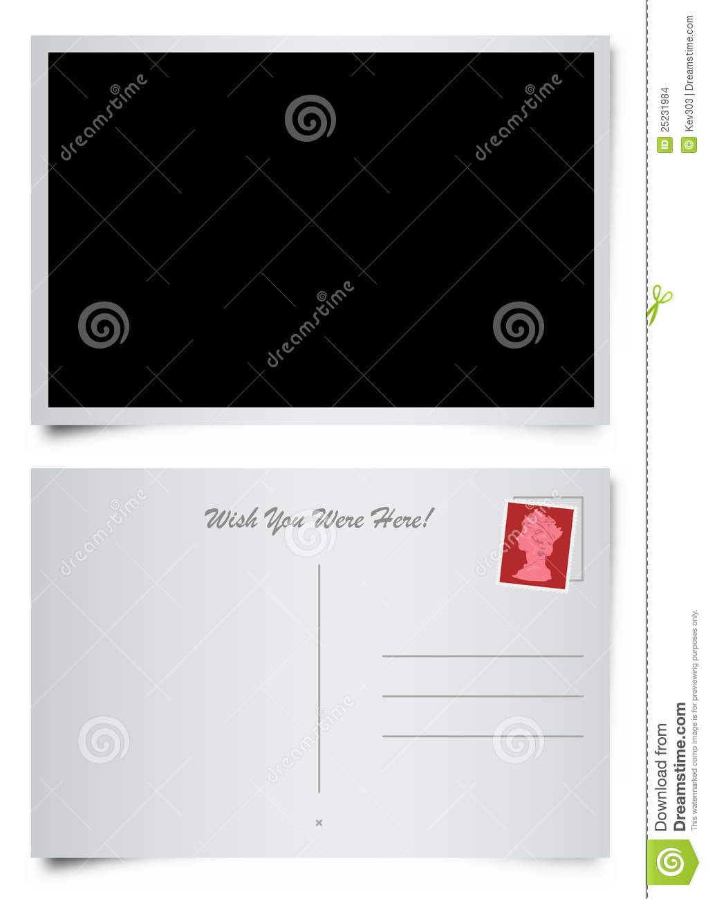 front and back of postcard stock vector illustration of copy 25231984