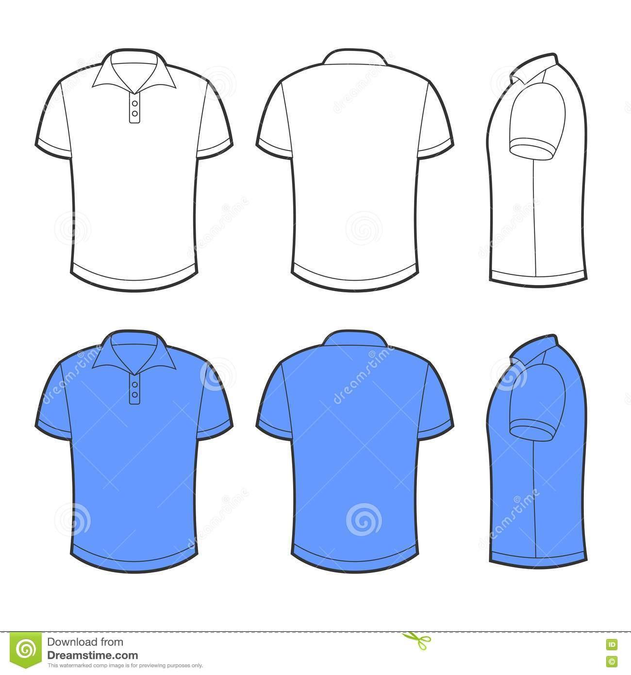 Front, Back And Side Views Of Blank Polo Royalty Free Stock ...
