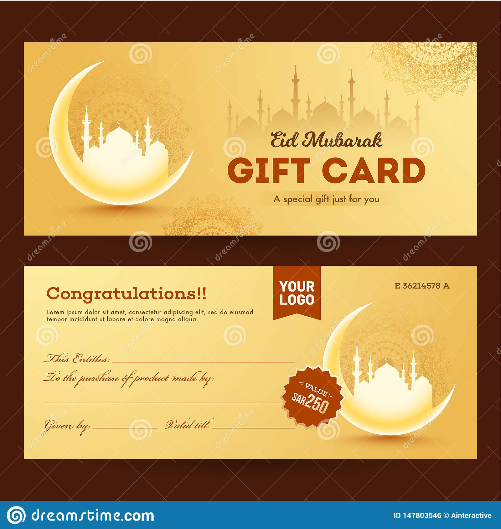 front and back view of gift card for eid mubarak stock