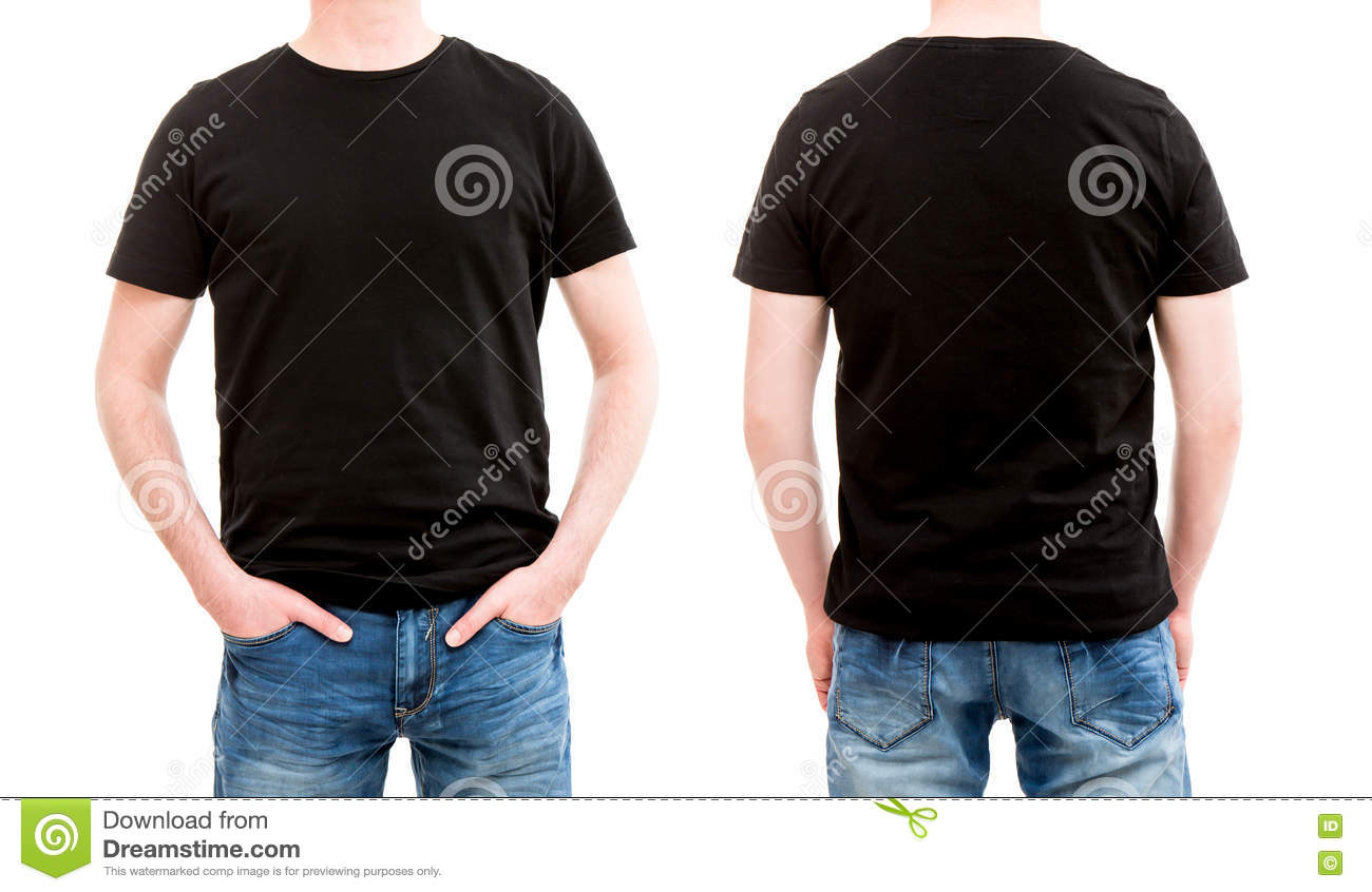 Black t shirt model template - Royalty Free Stock Photo Download Front And Back View Tshirt Template