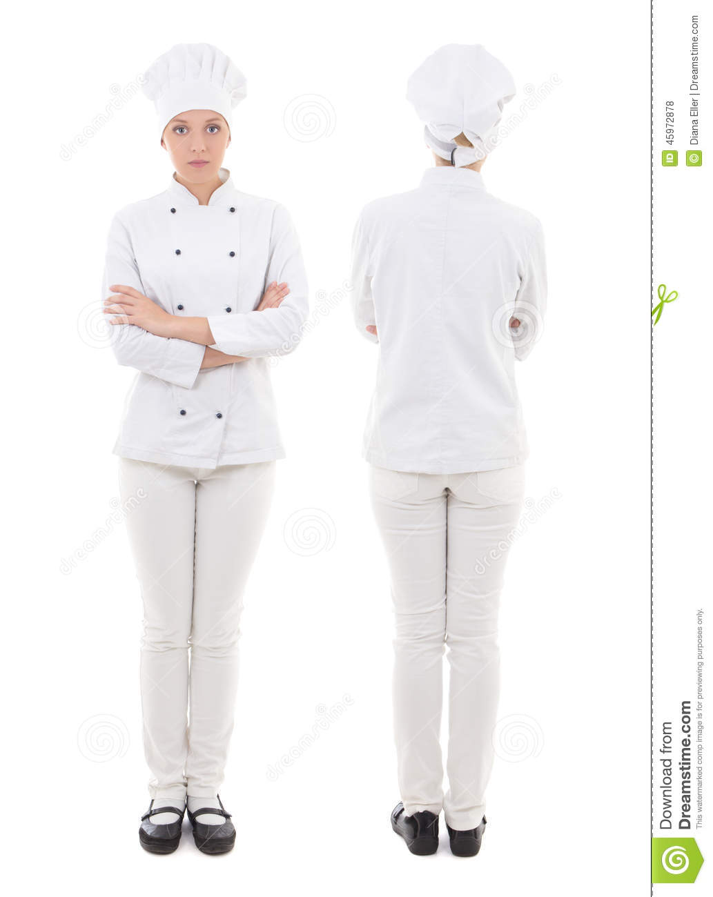 Front and back view of young woman in chef uniform isolated on w stock photo image 45972878 - Uniformes de cocina ...