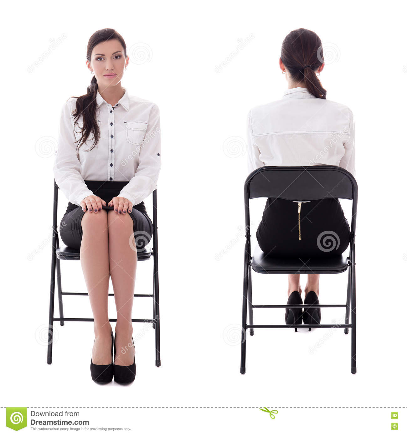Front And Back View Of Young Woman Sitting On Office Chair