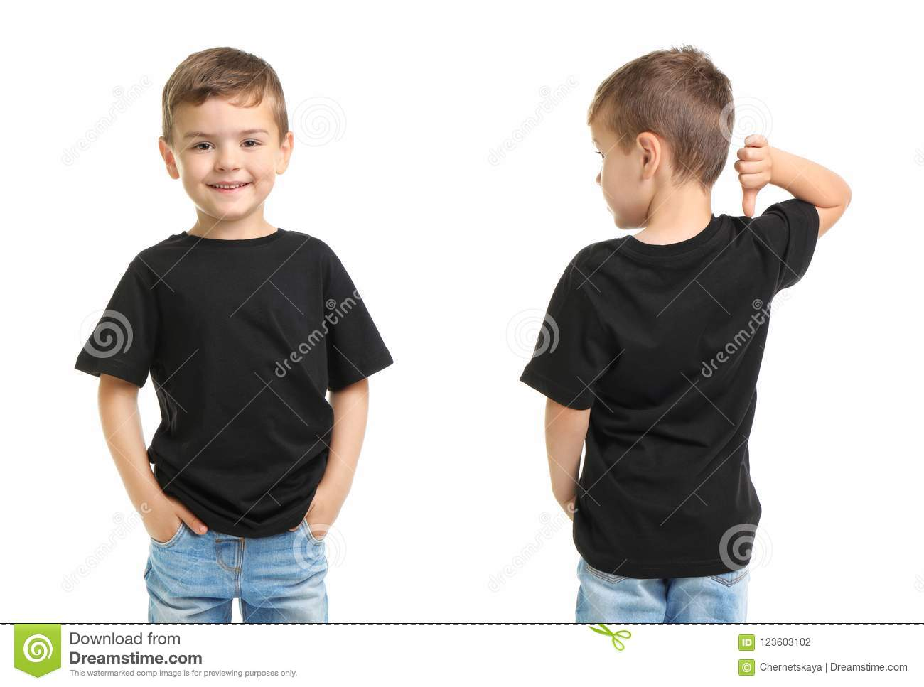 front and back views of little boy in black t shirt stock photo