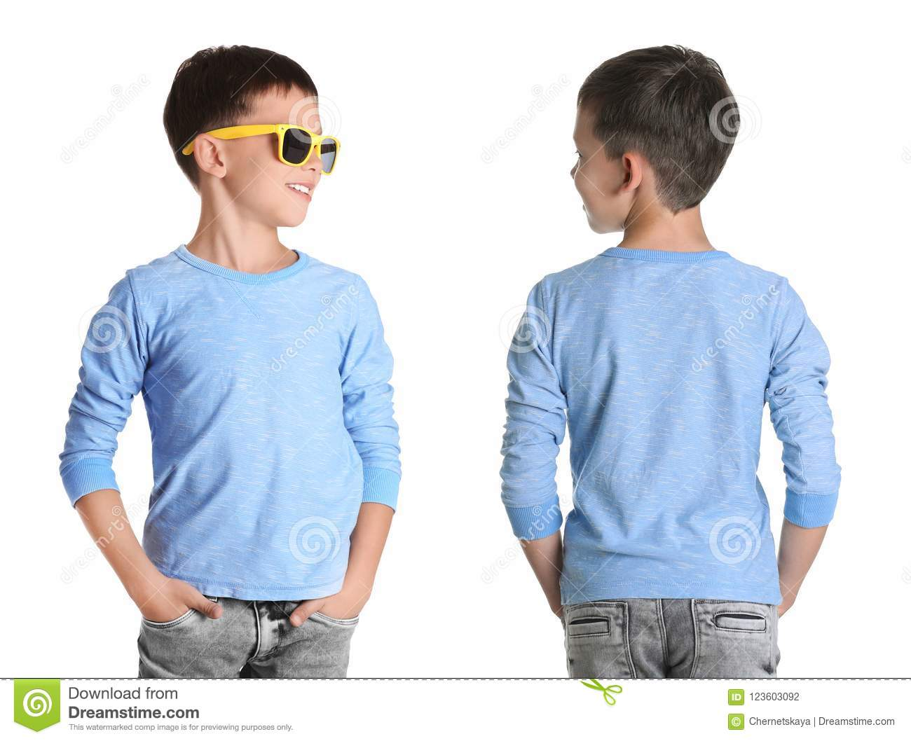 f146b3e2c Front and back views of little boy in long sleeve t-shirt on white  background. Mockup for design
