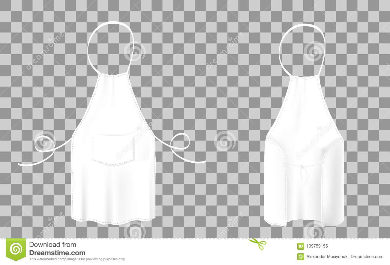 Front And Back Views Of The White Kitchen Apron. Protective ...