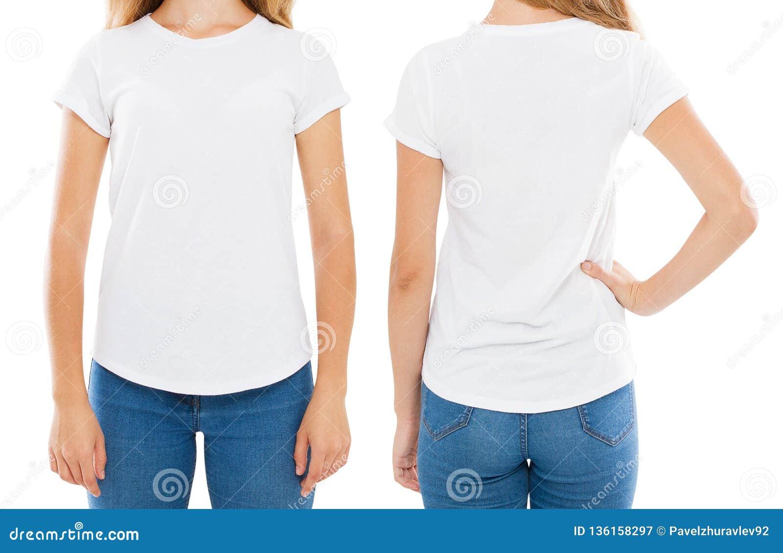 843e340e Front Back Views Woman T-shirt On White, Women Tshirt,girl T Shirt ...