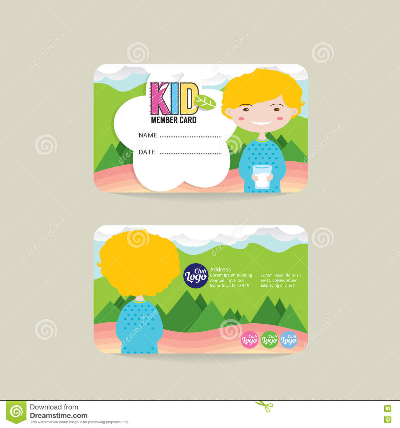 Front And Back Kids Member Card Template Vector Image – Membership Card Template