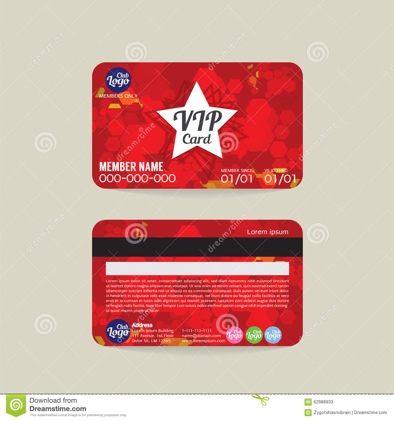 Front And Back VIP Member Card Template.  Membership Card Design