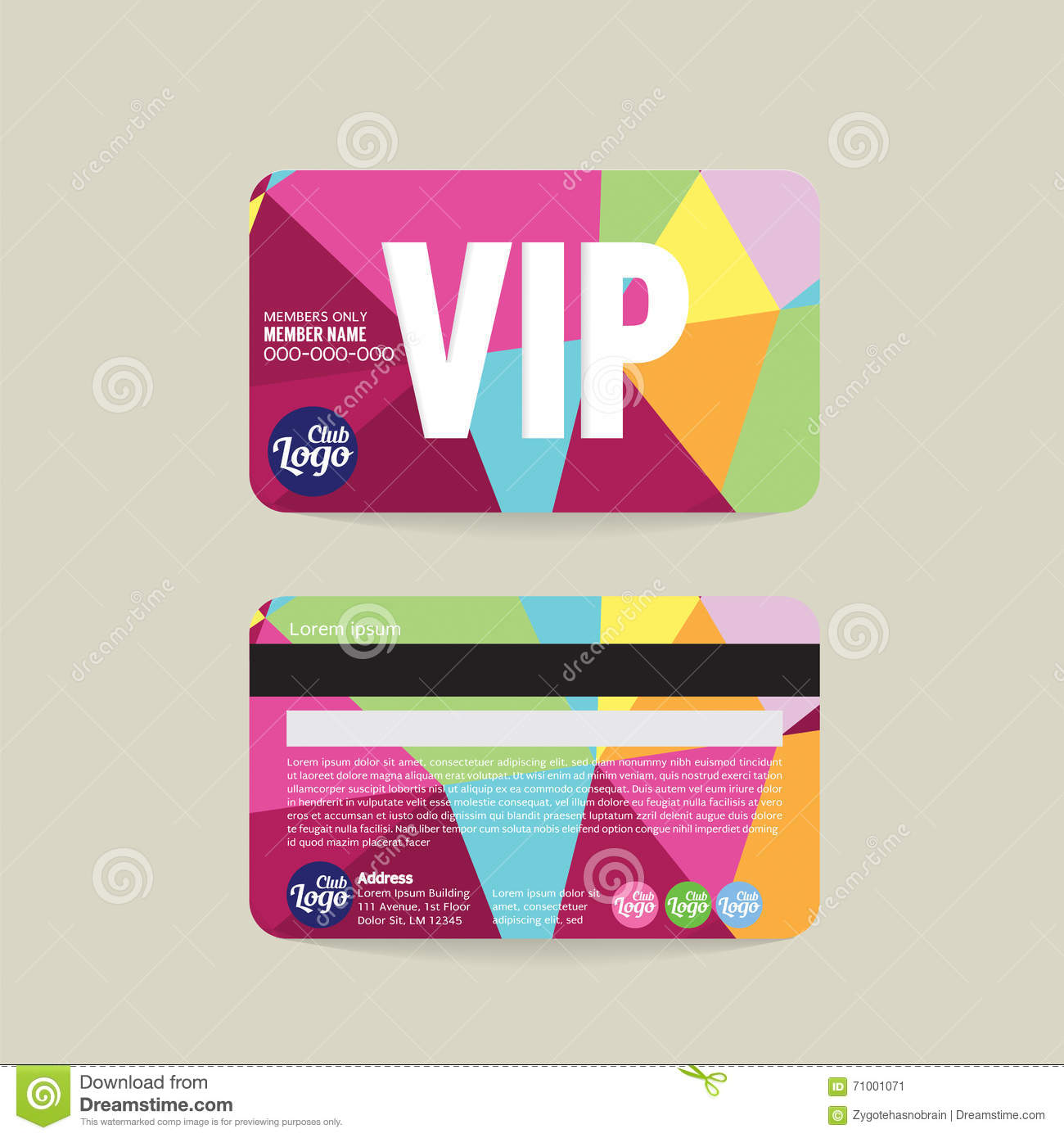Front And Back Vip Member Card Template Illustration - Card template free: blank id card template