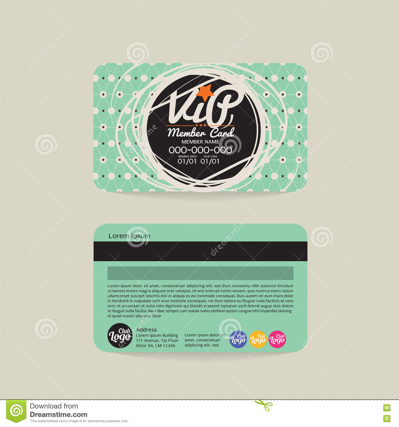 Front And Back VIP Member Card Template. Illustration, Design.  Membership Card Template