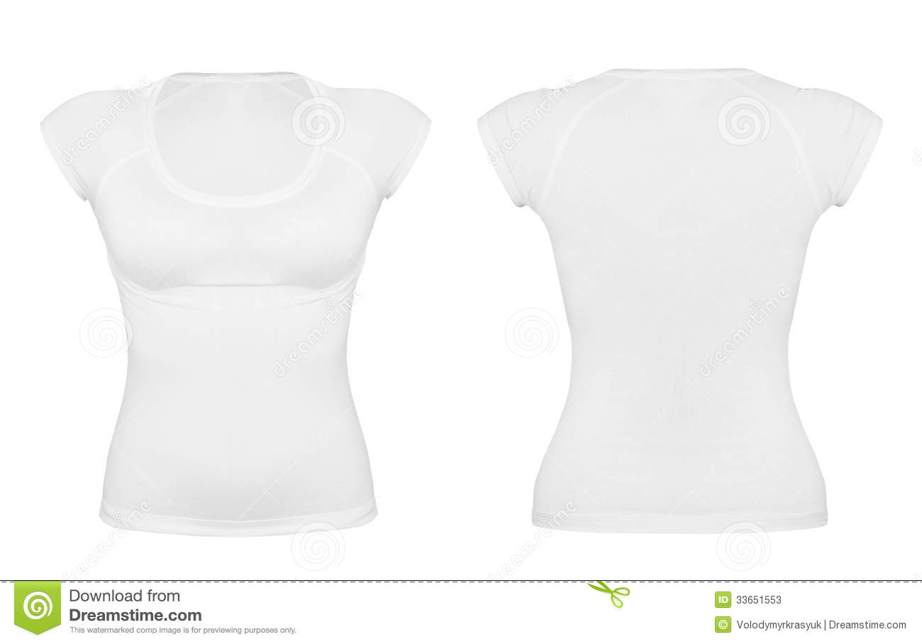 Front and back white t-shirt isolated on white background.