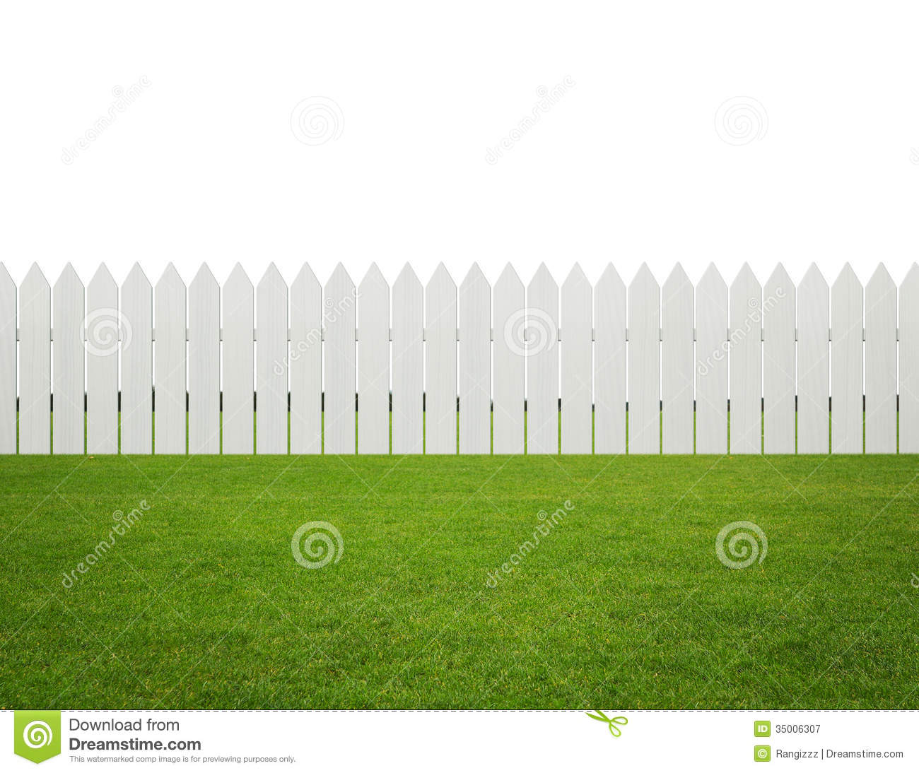 Front Or Back Yard White Wooden Fence On The Grass