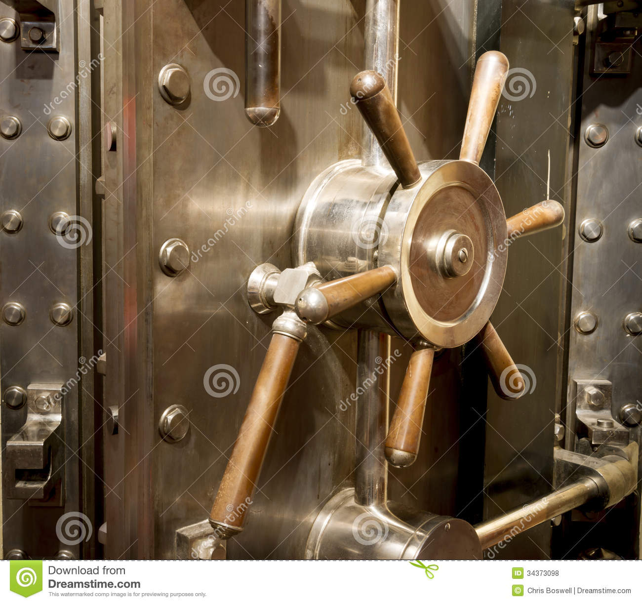 Front Of Bank Vault Massive Door Handle Combination Lock