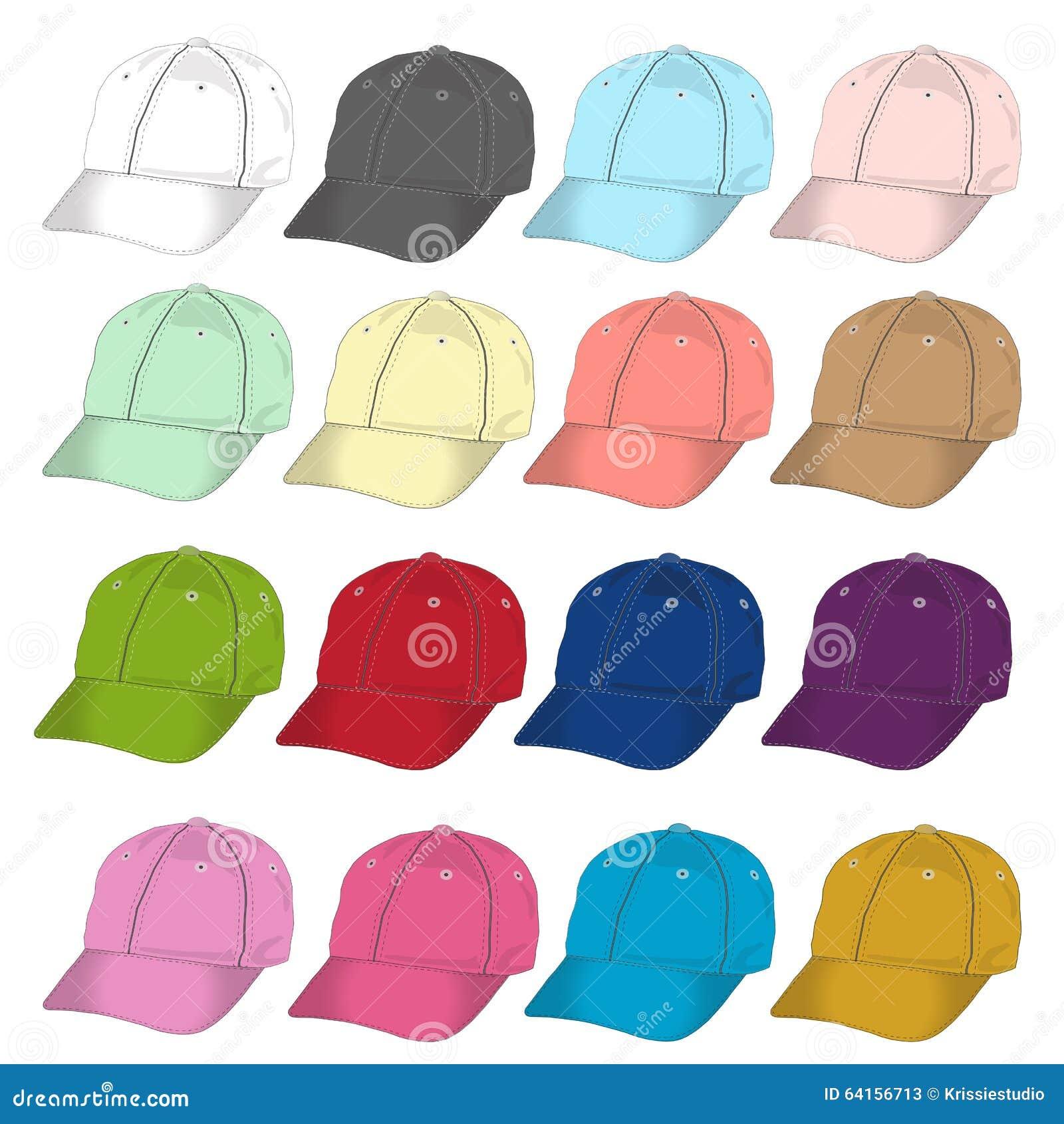 front baseball cap vector template set stock vector illustration
