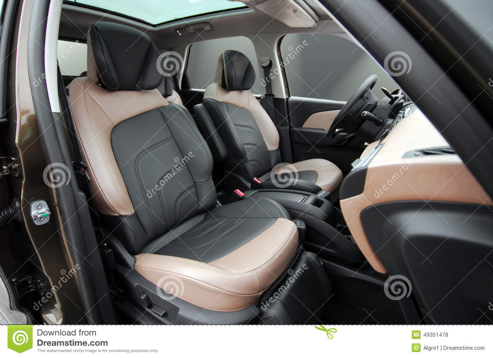 front car seats stock photo image 49351478. Black Bedroom Furniture Sets. Home Design Ideas
