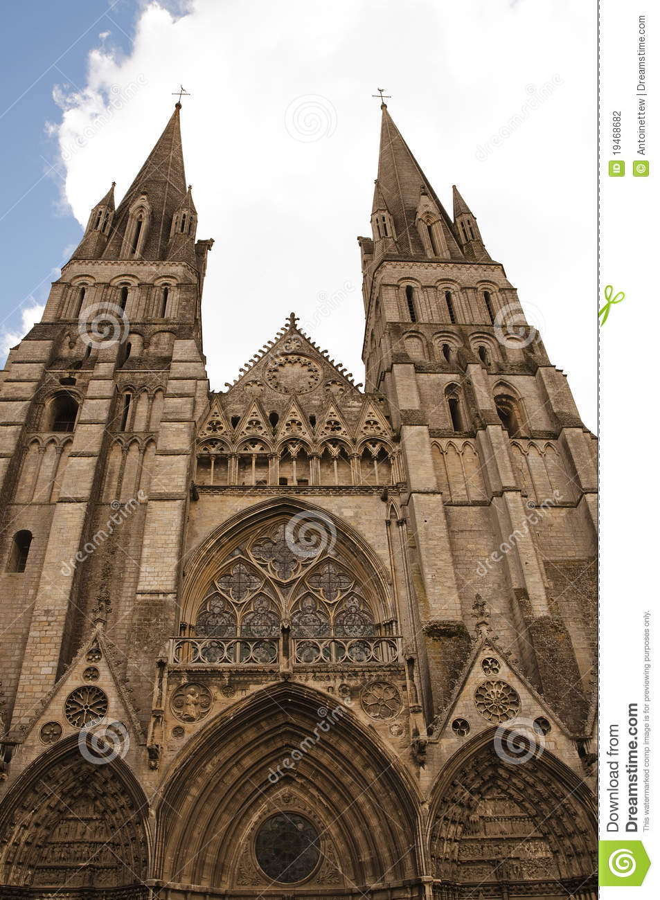 Front Of Cathedral Notre Dame De Bayeux France Stock
