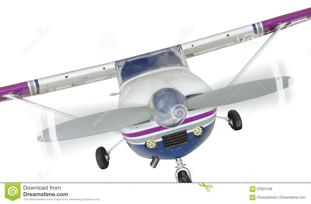 Front Of Cessna 172 Single Propeller Airplane On White Stock
