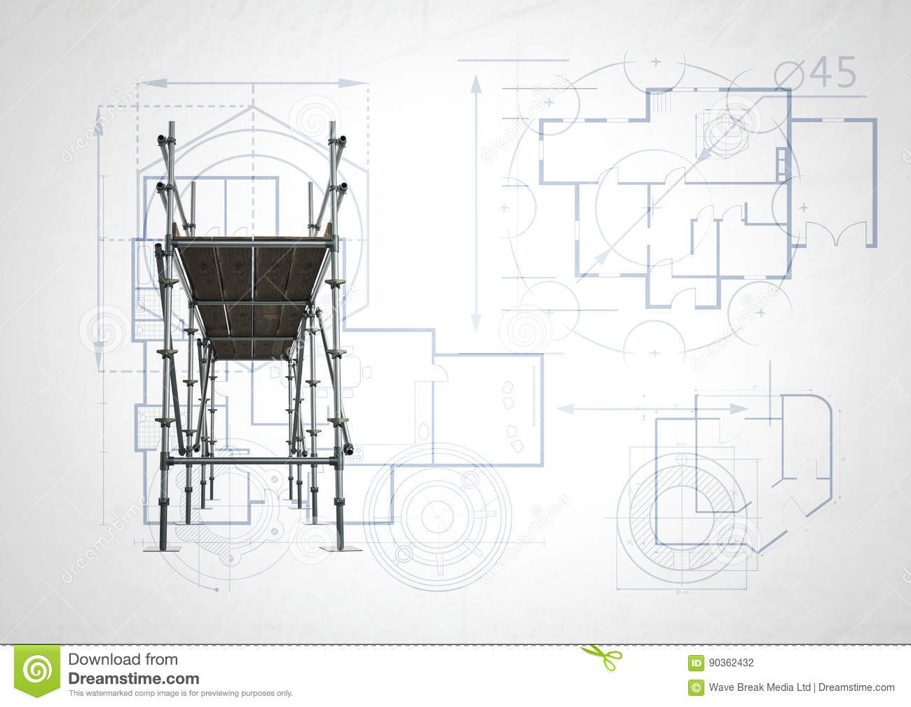 Front of 3d scaffolding with white and blueprint background stock download comp malvernweather Images