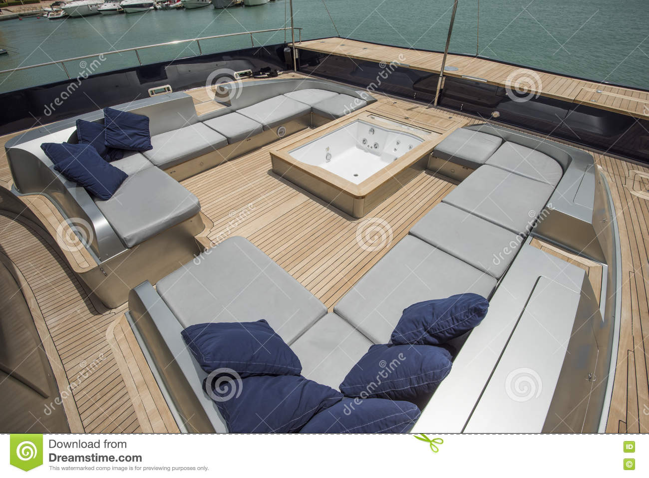Front Deck Of A Large Luxury Yacht With Jacuzzi Stock Image - Image ...