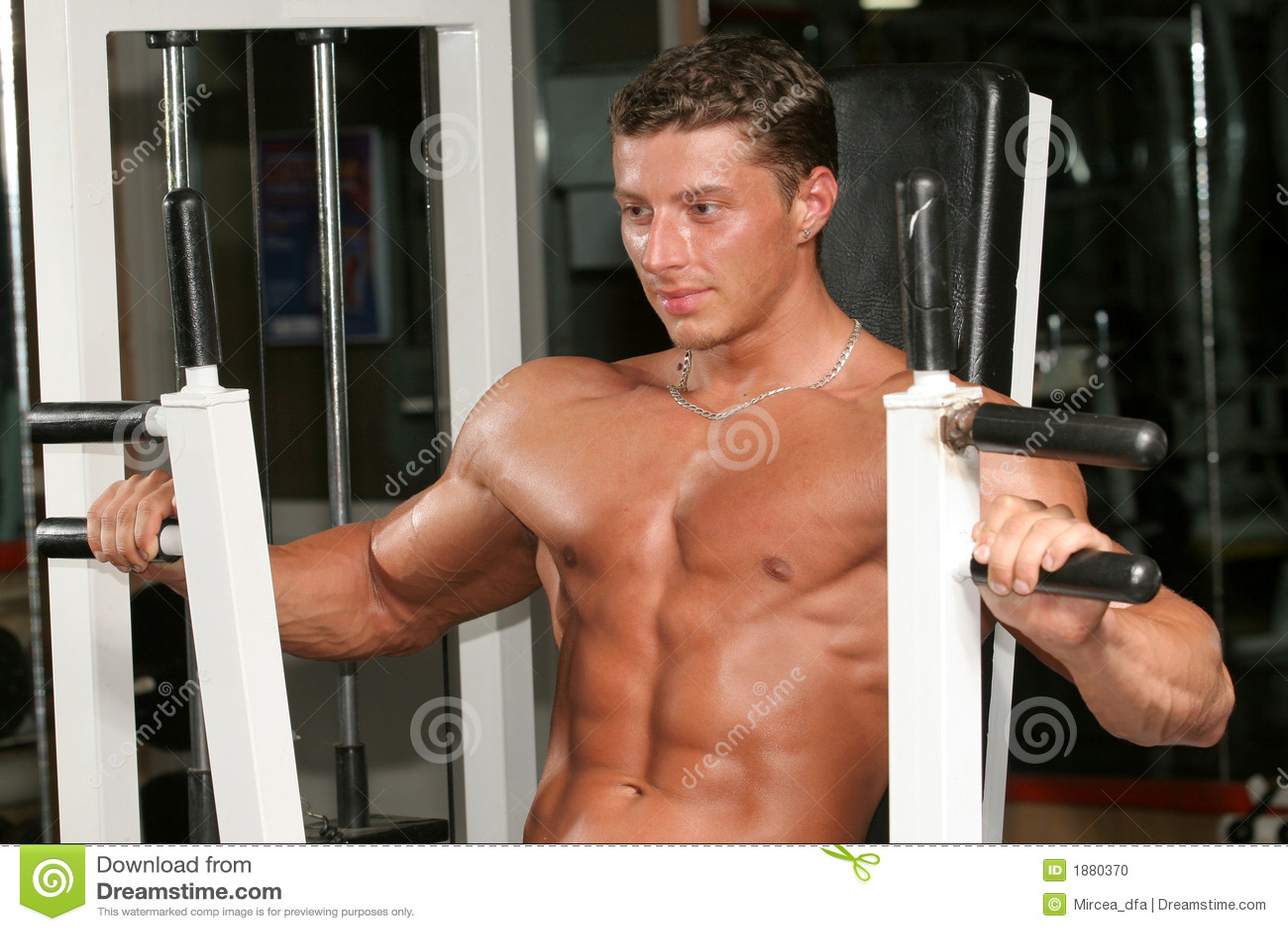 Front Deltoids Machine Press Stock Photo - Image of attractive ...