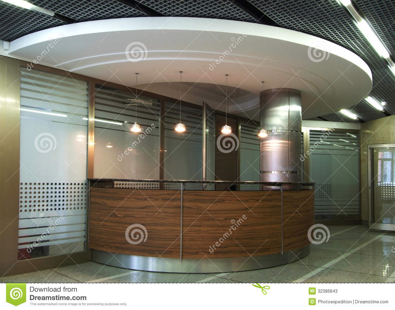 Front Desk On Reception In Hi Tech Style Stock Photos