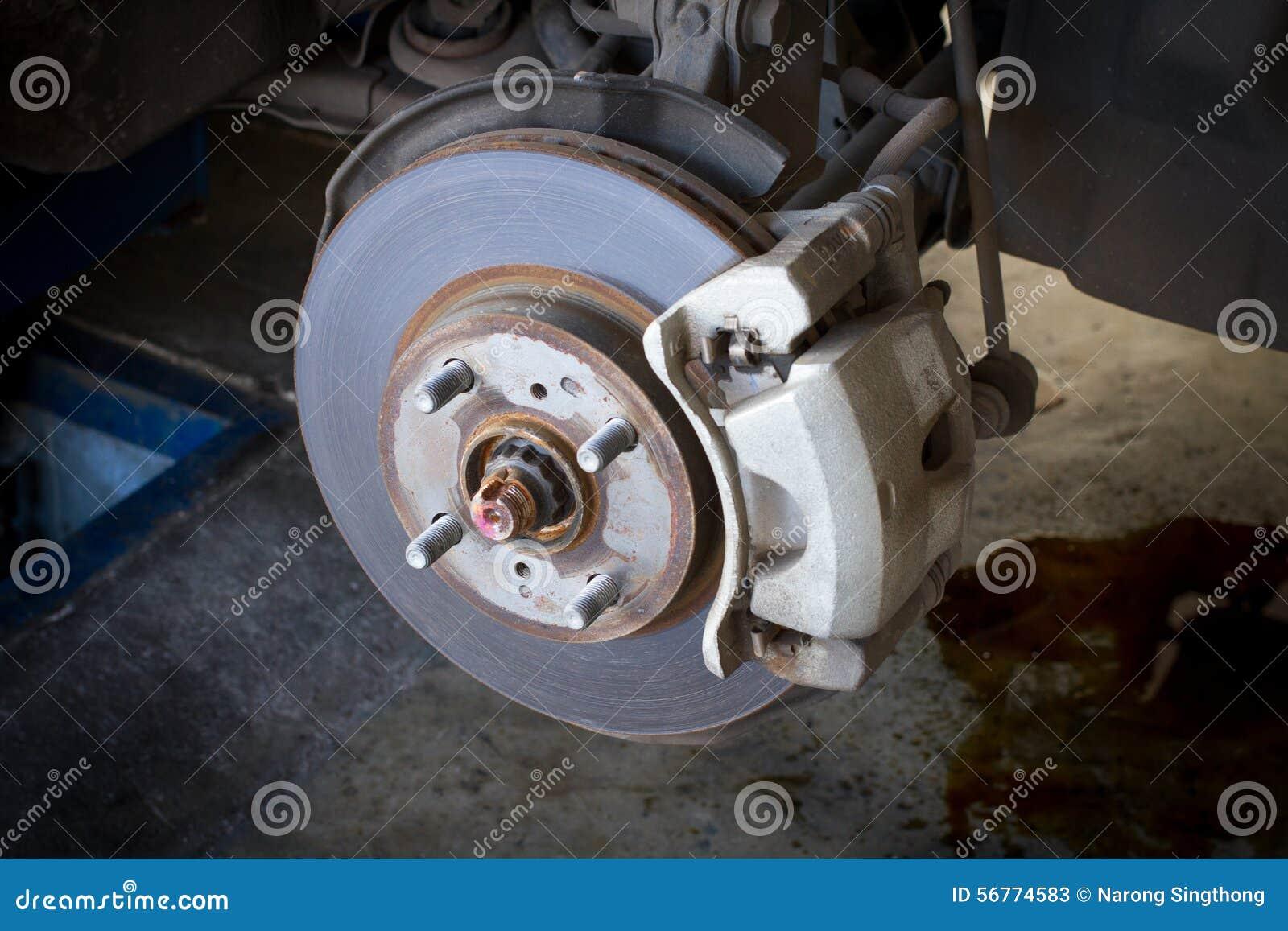 Car Brake Test : Front disk brake assembly on a car stock image of