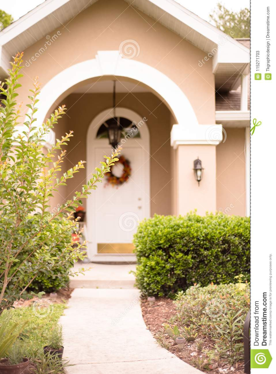 Front Door With Arc Florida Style Home Stock Image Image Of