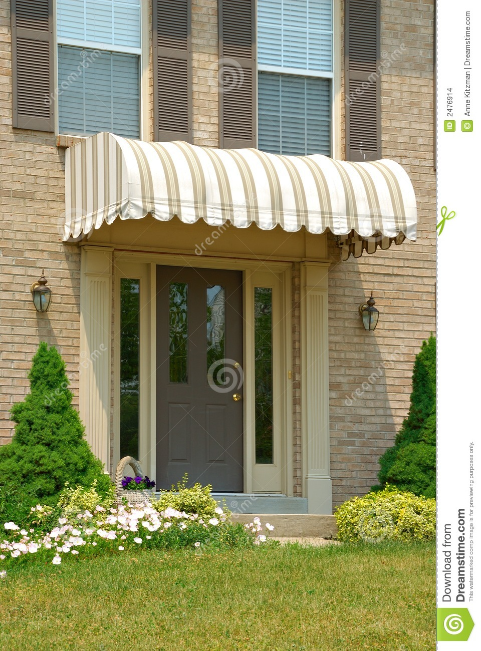 Red entrance door in front of residential house stock photo - Front Door Awning Stock Images Image 2476914