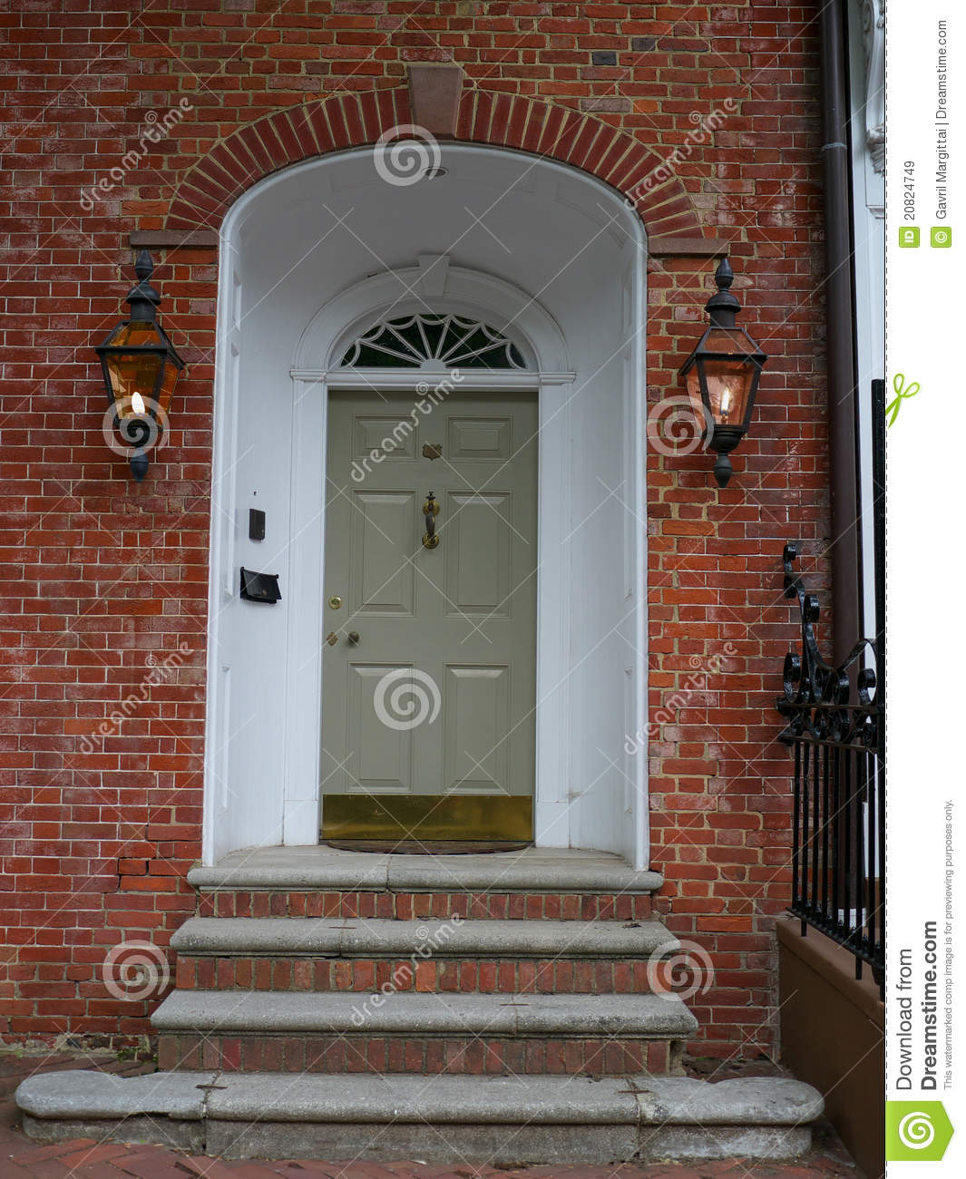 Front Door On Brick Wall Stock Image Image Of Stairs