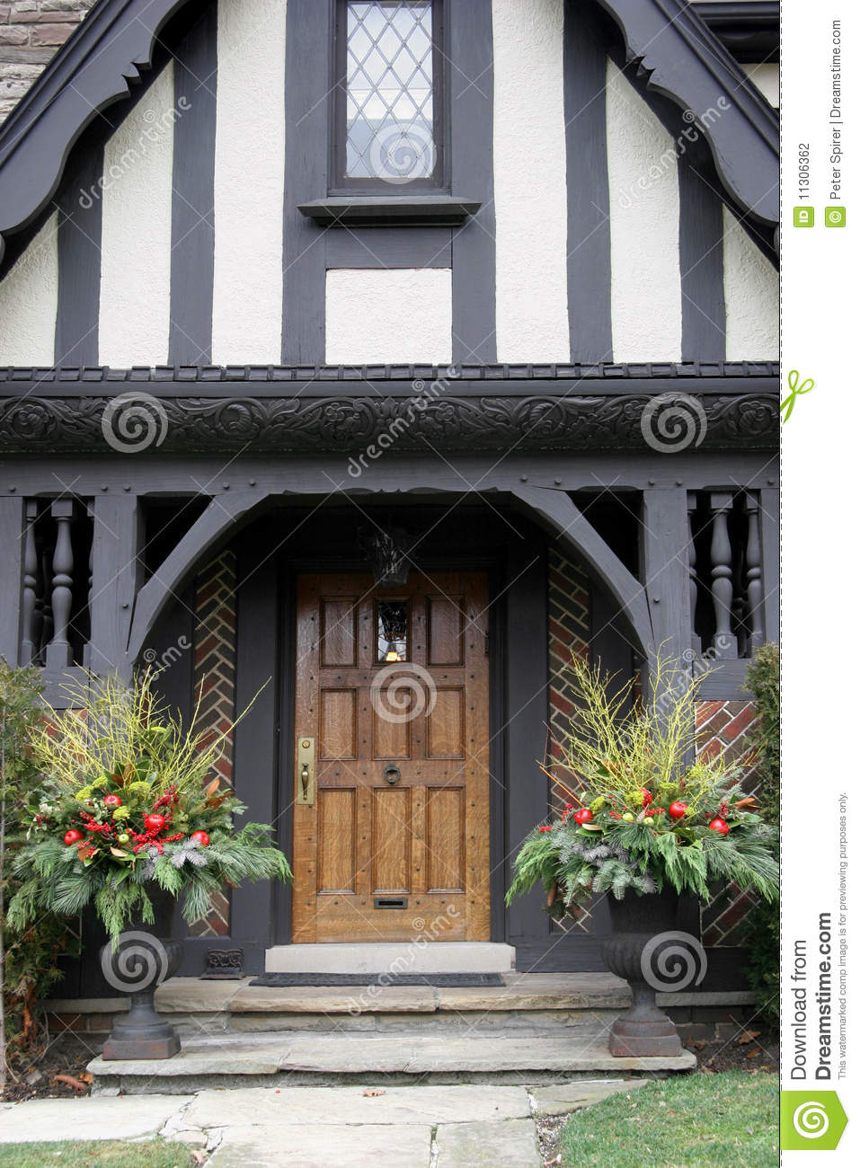 front door with christmas decorations - Front Door Entrance Christmas Decoration