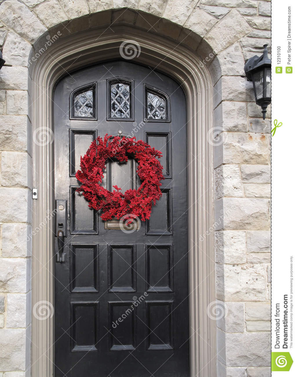 Christmas Front Door Clipart front door with christmas decorations stock photo - image: 12310100