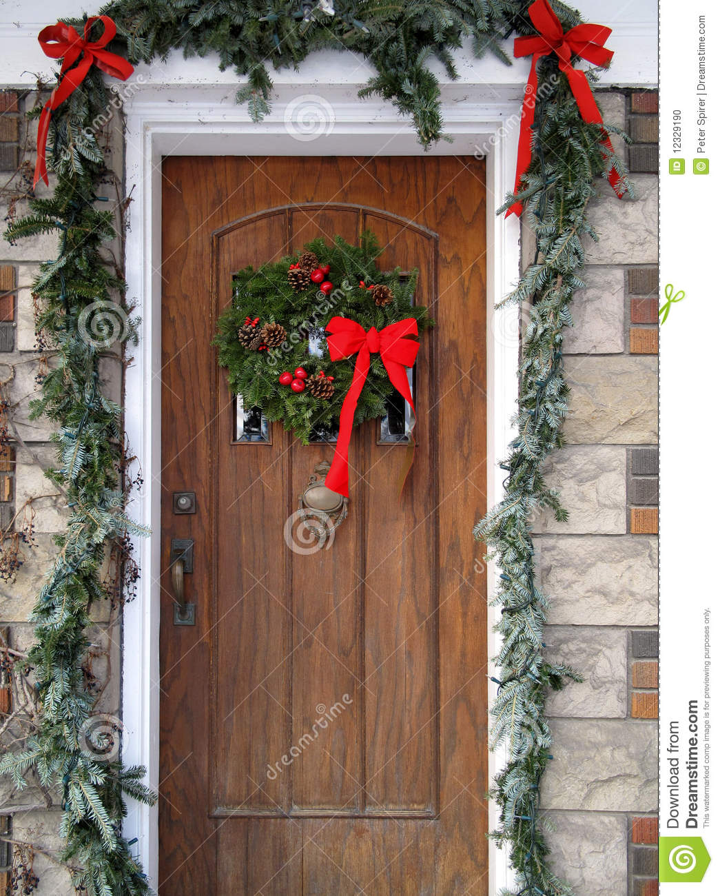 Front Door With Christmas Decorations Stock Photo Image Of