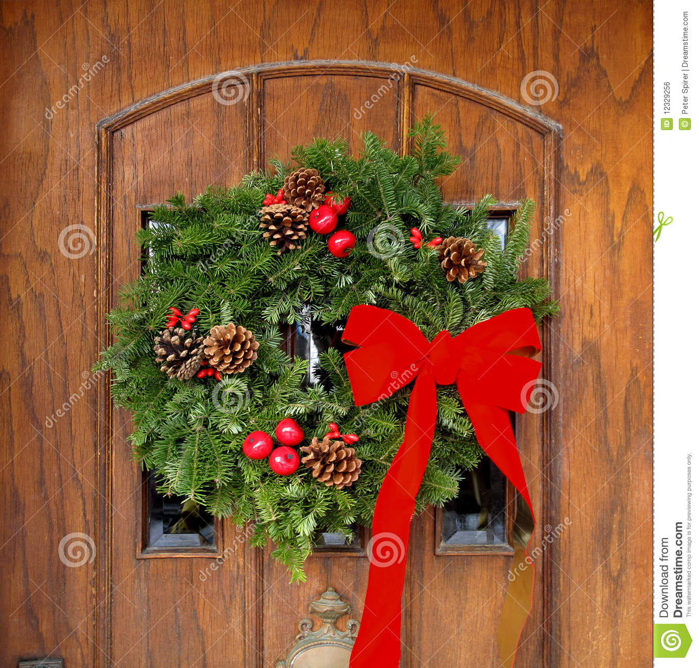 Front Door With Christmas Decorations. Bough, Flower.